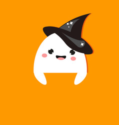 halloween party banner with cute ghost in witch vector image