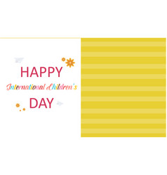 happy childrens day greeting card style vector image