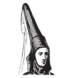 horn head dress were worn at that time vintage vector image