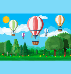 hot air balloon in sky with clouds and sun vector image
