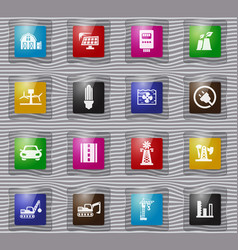 industry glass icons set vector image