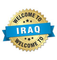 Iraq 3d gold badge with blue ribbon vector