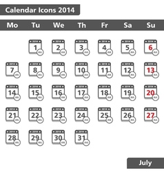 July 2014 Calendars Icons vector image