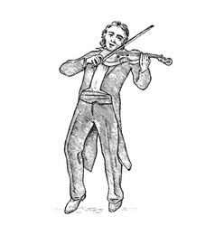 man plays the violin musician with a classic vector image