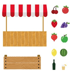 Market tent with white and red striped market vector