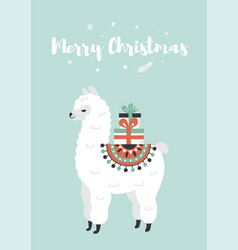 merry christmas greeting card cute lama with gift vector image