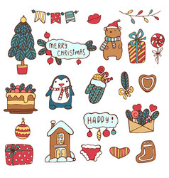 merry christmas holiday big set of hand vector image