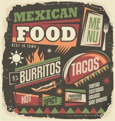 Mexican restaurant funky menu design concept vector image
