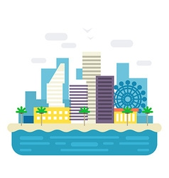 Modern city with scyscrapers Sea resort landscape vector image