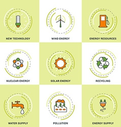 Modern ecology line icons set new technology clean vector