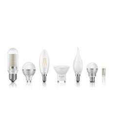 Modern led bulbs 3d realistic set vector