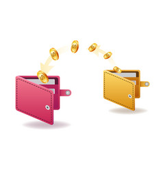 money transfer from and to wallet in isometric vector image