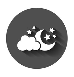 Moon and stars with clods icon in flat style vector
