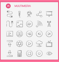 Multimedia hand drawn icon for web print and vector