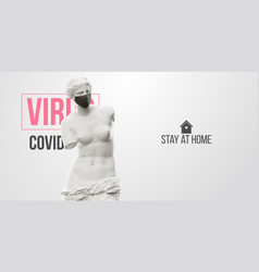 Novel coronavirus covid-2019 stay at home mask vector