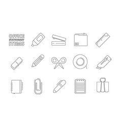 office stationary items desk folder papers pencil vector image