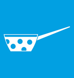 pot with white dots and handle icon white vector image