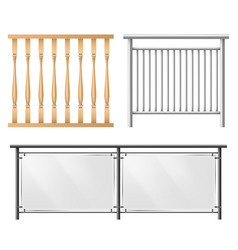 railings fence sections realistic set vector image