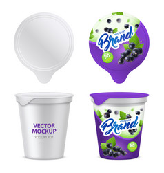 Realistic yogurt package icon set vector