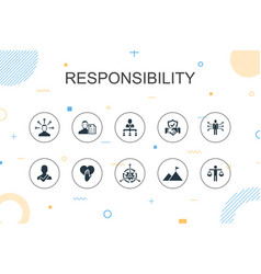 Responsibility trendy infographic template thin vector