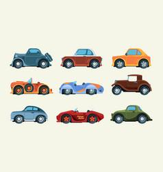 retro automobiles urban racing transportation vector image