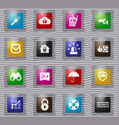 security and protection glass icons set vector image