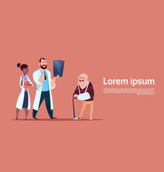 senior man on consultation with doctors group vector image