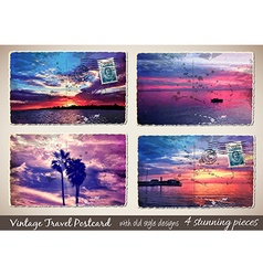 set 4 stunning vintage postcard with old style vector image