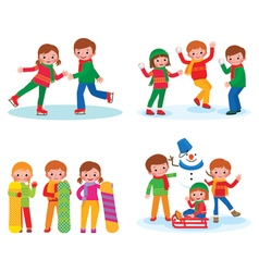 Set for children winter activities vector image