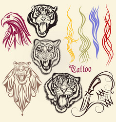 set hand drawn tattoo with animals vector image