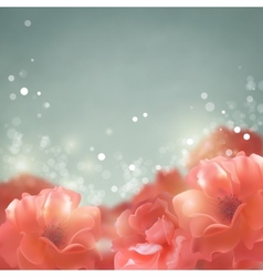 Shining flowers roses background vector image