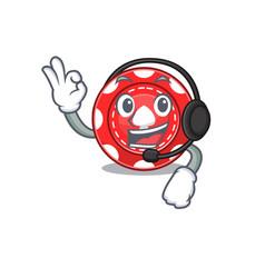 Smiley gambling chips cartoon character design vector