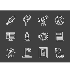 Space colonization simple white line icons vector image
