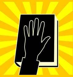 the hand on the book vector image