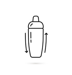 Thin line cocktail shaker black icon vector