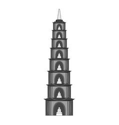 Tran quoc pagoda in hanoi icon monochrome vector