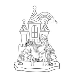 Unicorn and princess in the castle with rainbow vector