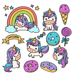 unicorn cartoon doodle vector image