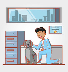 Veterinary with dog in medical center vector