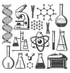 Vintage laboratory research elements set vector