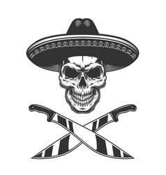 Vintage monochrome mexican skull in sombrero vector
