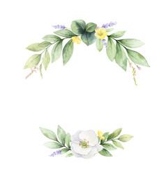 Watercolor wreath with wildflower vector