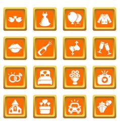 wedding icons set orange square vector image