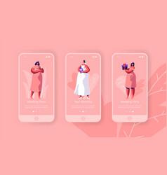 Wedding preparation barchelorette party mobile app vector