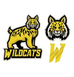 Wildcats sport mascot set vector