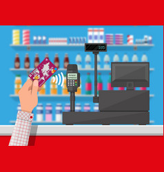 wireless payment in supermarket vector image