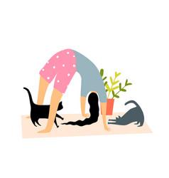 yoga sport bridge pose at home on yoga mat vector image