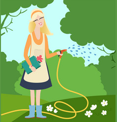Young woman watering flowers in a garden vector