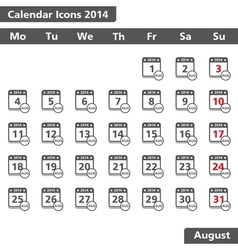 August 2014 Calendar Icons vector image vector image