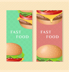 burger banners vector image vector image